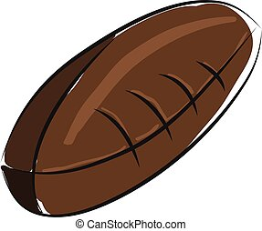 Brown american football ball  illustration  color  vector on white background