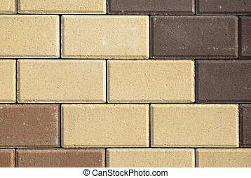 Brown and beige bricks texture background