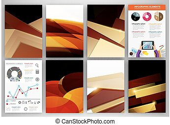 Brown and beige creative backgrounds and abstract concept vector icons