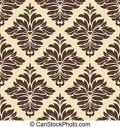 Brown and beige seamless damask pattern