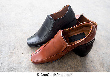 Brown and black Leather Shoes for men