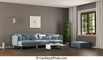 Brown and blu elegant living room