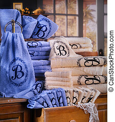brown and blue towel set