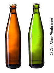 brown and green bottles of beer isolated on white with clipping path included