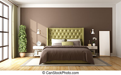 Brown and green master bedroom with elegant double bed - 3d...