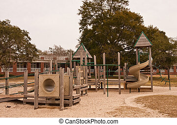 Brown and Green Playground in a Park