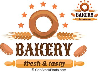 Brown and orange bakery emblem