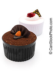 brown and  pink cup cakes with clipping path