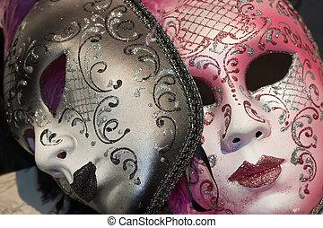 brown and pink venetian carnival masks