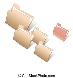 Brown and red file folder icons