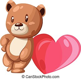 Brown and white bear leaning on a big pink heart vector illustration on white background.