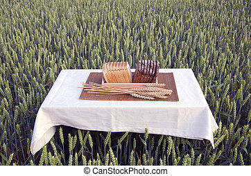 brown and white bread on table on summer wheat field
