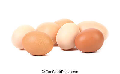 Brown and white eggs.