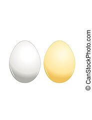 Brown and white eggs on background. Vector Illustration