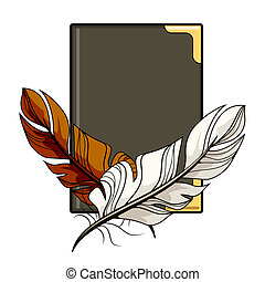 Brown and white feathers on a book
