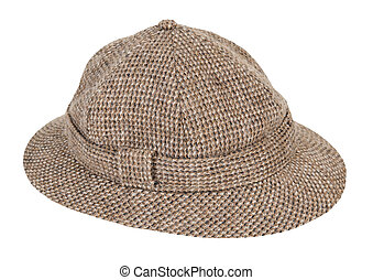 Houndstooth Pith Hat - Brown and white Houndstooth Pith Hat...