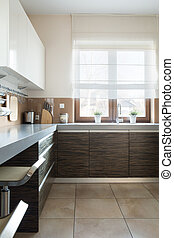 Brown and white kitchen furniture