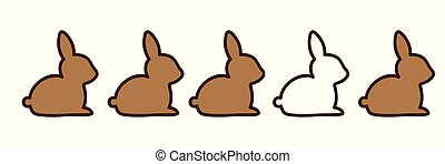 brown and white rabbits on white background