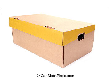 brown and yellow cardboard box isolated on white background