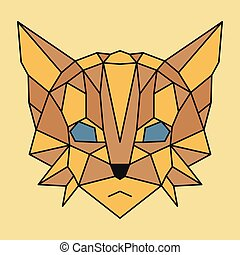 Brown and yellow low poly cat
