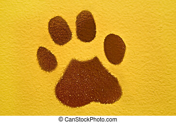 Brown Animal Paw Print - This is a painted brown animal paw...