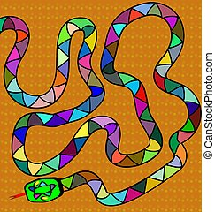 brown background and colored snake - abstract colored...