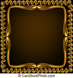 brown background frame with gold(en) pattern