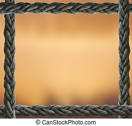 Brown background with an old marine rope