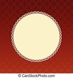 beige round label.