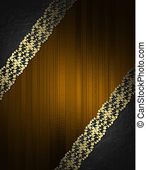 Brown background with black corners with gold ribbons