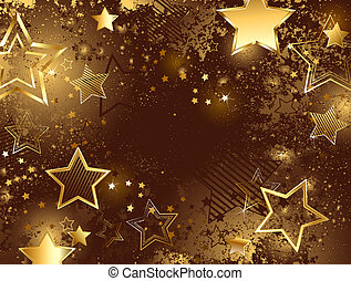 Brown Background with Golden Stars - brown background...