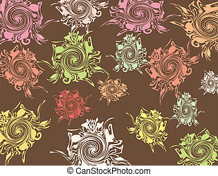 Brown background with varicoloured