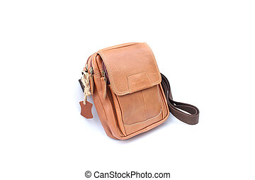 Brown bag leather on isolated white