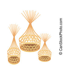 Brown Bamboo Wicker Baskets on White Background