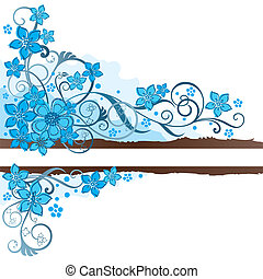 Brown banner and turquoise flowers - Brown grunge banner ...