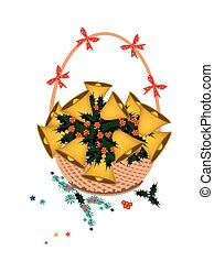 Brown Basket of Golden Bell and Christmas Holly