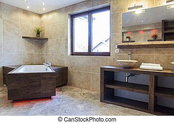 Brown bathroom in modern house