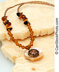 Brown beaded floral necklace