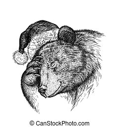 Brown bear, black and white engrave. Christmas hat.