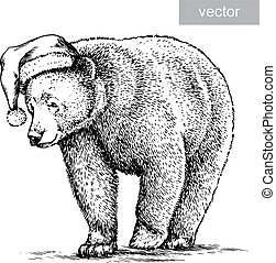 Brown bear, black and white engrave. Christmas hat. Vector