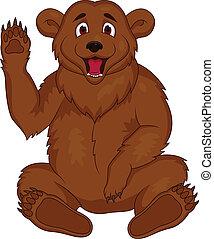 Vector illustration of brown bear cartoon
