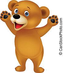 Vector illustration of brown bear cartoon waving