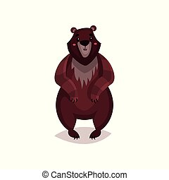 Brown bear cartoon vector Illustration