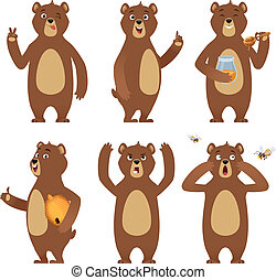 Brown bear cartoon. Wild animal standing at different poses nature characters vector collection