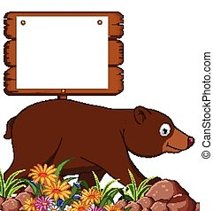 brown bear cartoon with board - vector illustration of brown...