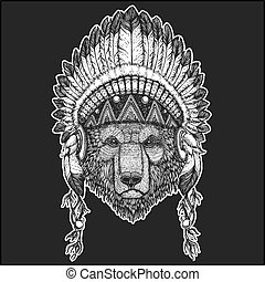 Brown bear Cool animal wearing native american indian headdress with feathers Boho chic style Hand drawn image for tattoo, emblem, badge, logo, patch