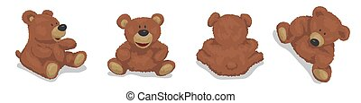 Brown bear, cute soft toy. Set of vector illustrations for children