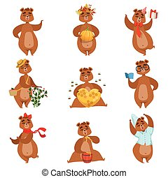Brown Bear Different Activities Set Of Girly Character...
