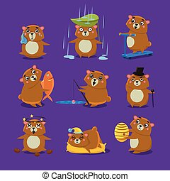 Brown Bear Different Emotions Set