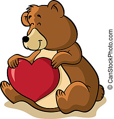brown bear holding heart